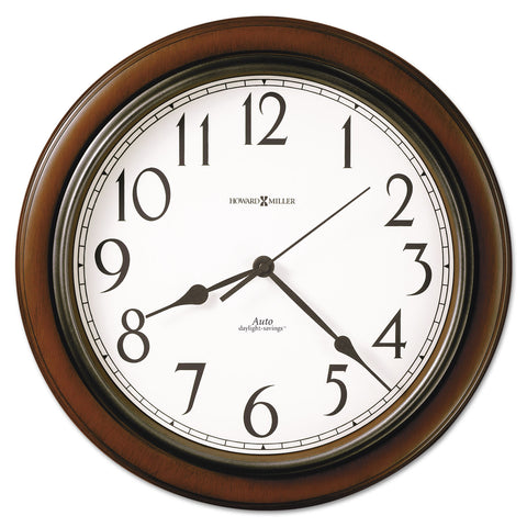 "Howard Miller Talon Auto Daylight-Savings Wall Clock, 15.25"" Overall Diameter, Cherry Case, 1 AA (sold separately)"