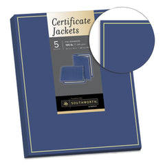 Southworth Certificate Jacket, Navy/Gold Border, Felt, 88lb Stock, 12 x 9 1/2, 5/Pack