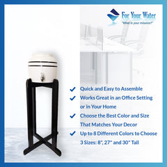 "For Your Water 27"" Natural Wood Painted Water Crock Dispenser Floor Stand - Yellow - Yellow / 27 Inches / Wood"