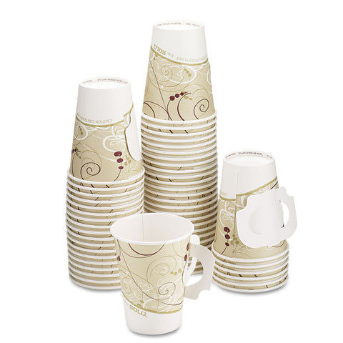 Dart Hot Cups, w/Paper Handle, Symphony Design, 8oz, Beige, 1000/Carton - Beige