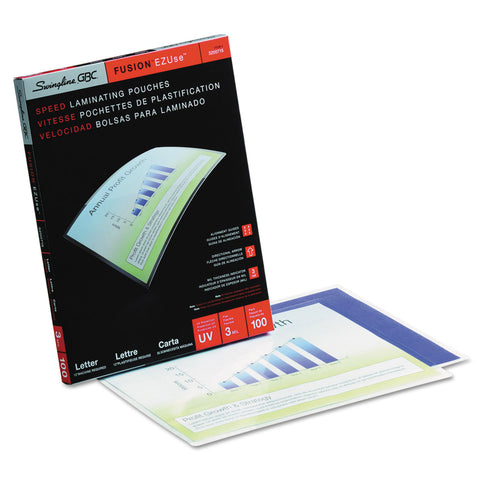 "GBC EZUse Thermal Laminating Pouches, 3 mil, 9"" x 11.5"", Gloss Clear, 100/Box - Clear / 9"" x 11.5"""