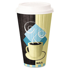 Duo Shield Insulated Paper Hot Cups, 20oz, Tuscan, Chocolate/Blue/Beige, 350/Ct