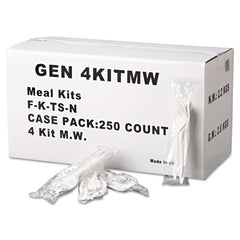 GEN Wrapped Cutlery Kit, Fork/Knife/Spoon/Napkin, White, 250/Carton - White
