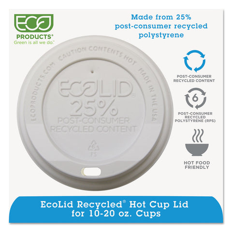 Eco-Products EcoLid 25% Recy Content Hot Cup Lid, White, F/10-20oz, 100/PK, 10 PK/CT