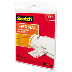 "Scotch Laminating Pouches, 5 mil, 5.38"" x 3.75"", Gloss Clear, 20/Pack"