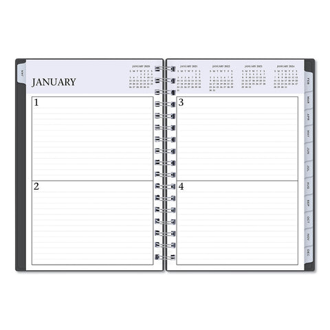 Blue Sky Passages Non-Dated Perpetual Daily Planner, 8 1/2 x 5 1/2, Black Cover,2020-2025