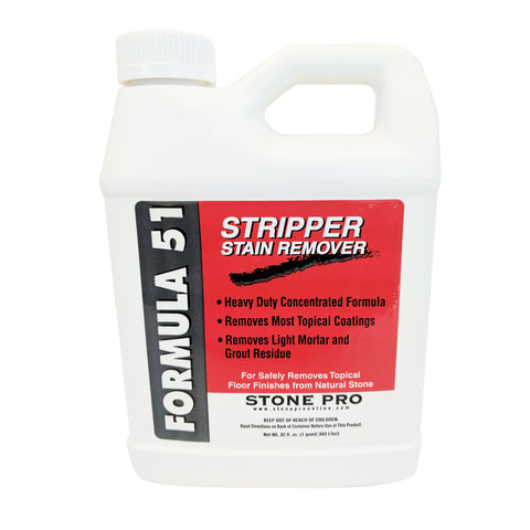 Stone Pro Formula 51 Stripper Stain Remover Concentrate Heavy Duty Wax Stripper - 1 Quart