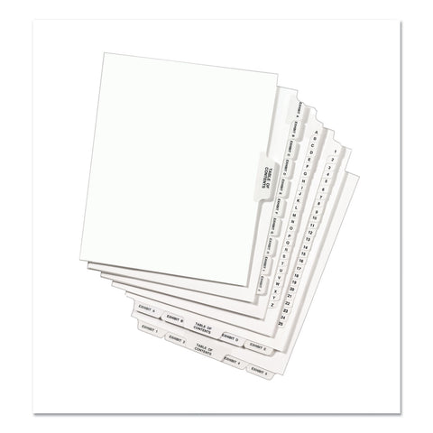 Avery Avery-Style Preprinted Legal Bottom Tab Divider, Exhibit A, Letter, White, 25/PK