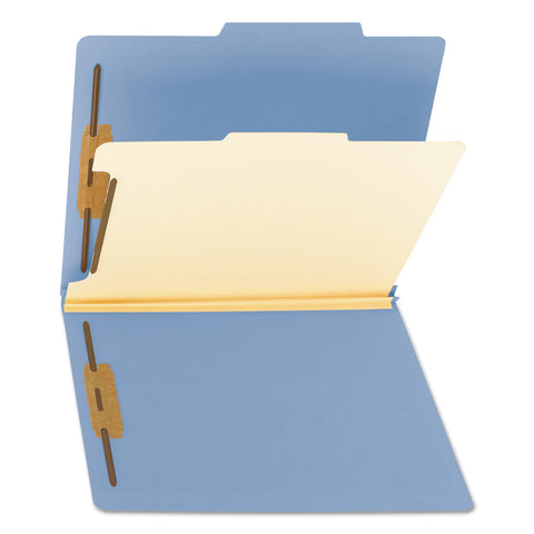 Smead Colored Top Tab Classification Folders, 1 Divider, Letter Size, Blue, 10/Box - Blue / Letter