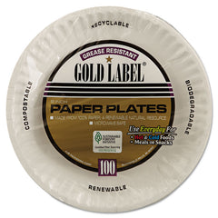 "AJM Packaging Corporation Gold Label Coated Paper Plates, 9"" dia, White, 100/Pack, 10 Packs/Carton"