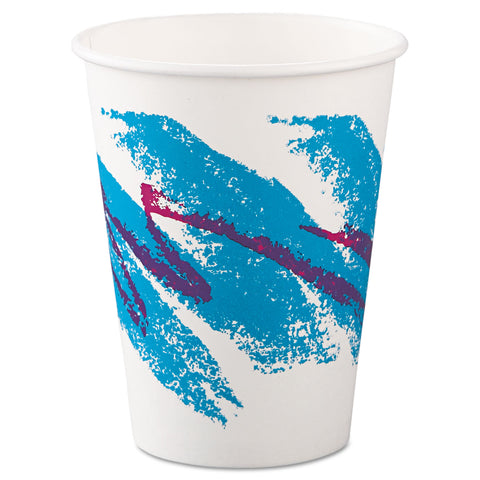 Dart Jazz Paper Hot Cups, 12oz, Polycoated, 50/Bag, 20 Bags/Carton - Green; Purple; White