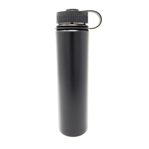 25 oz Double Wall 18/8 Pro-Grade Stainless Vacuum Sealed Big Mouth Water Bottle with Leak-Proof Black Stay-On Cap  | Great For Alkaline Water Storage - Black