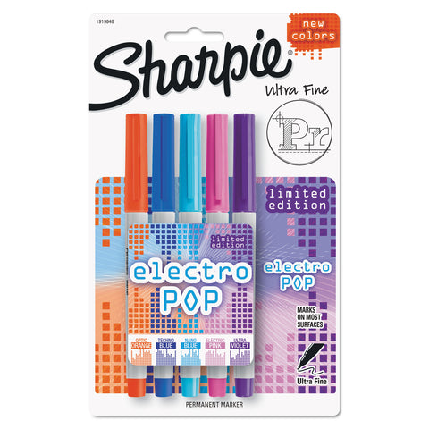Sharpie Ultra Fine Electro Pop Marker, Extra-Fine Needle Tip, Assorted Colors, 5/Pack