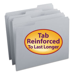 Smead Reinforced Top Tab Colored File Folders, 1/3-Cut Tabs, Letter Size, Gray, 100/Box - Gray / Letter