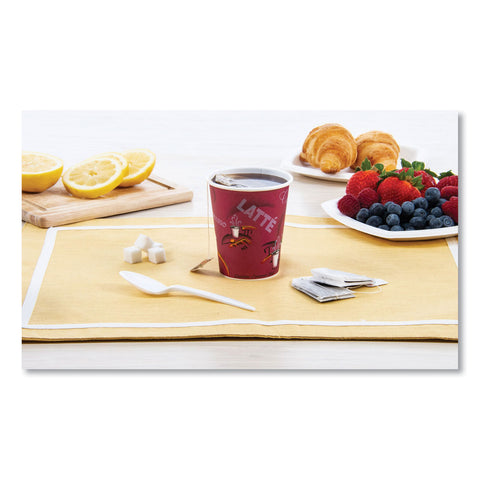 Dart Solo Bistro Design Hot Drink Cups, Paper, 10oz, 1000/Carton - Maroon