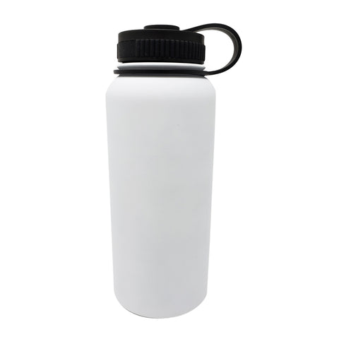 32 oz Double Wall 18/8 Pro-Grade Stainless Vacuum Sealed Big Mouth Water Bottle with Leak-Proof Black Stay-On Cap  | Great For Alkaline Water Storage - White