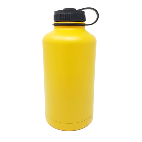 64 oz Double Wall 18/8 Pro-Grade Stainless Vacuum Sealed Big Mouth Water Bottle with Leak-Proof Black Stay-On Cap  | Great For Alkaline Water Storage - Mango