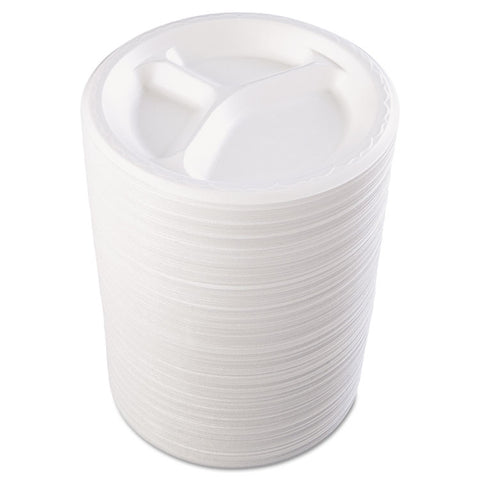 "Genpak Foam Dinnerware, Plate, 3-Comp, 8 7/8"" dia, White, 125/Pack, 4 Packs/Carton"