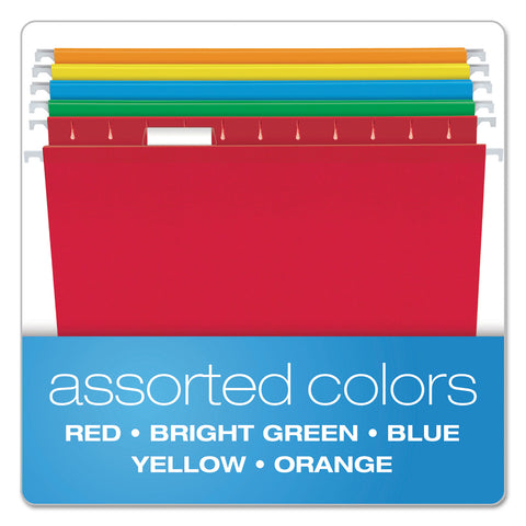 Pendaflex Colored Reinforced Hanging Folders, Legal Size, 1/5-Cut Tab, Assorted, 25/Box - Assorted / Legal