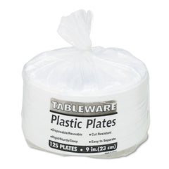 "Tablemate Plastic Dinnerware, Plates, 9"" dia, White, 125/Pack"