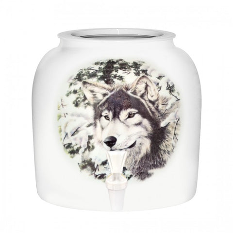 2.5 Gallon Porcelain Water Crock Dispenser With Crock Protector Ring and Faucet - Wild Animal