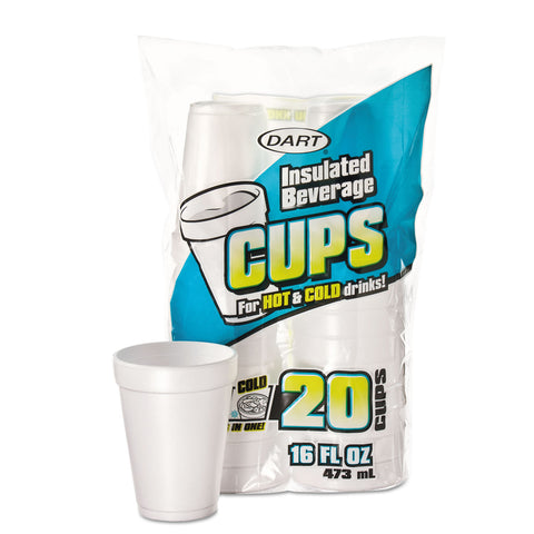 Large Foam Drink Cup, 16 oz, Hot/Cold, White, 20/Bag, 12 Bag/Carton