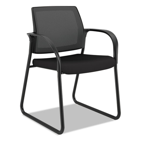 "HON Ignition Series Mesh Back Guest Chair with Sled Base, 25"" x 22"" x 34"", Black Seat, Black Back, Black Base"