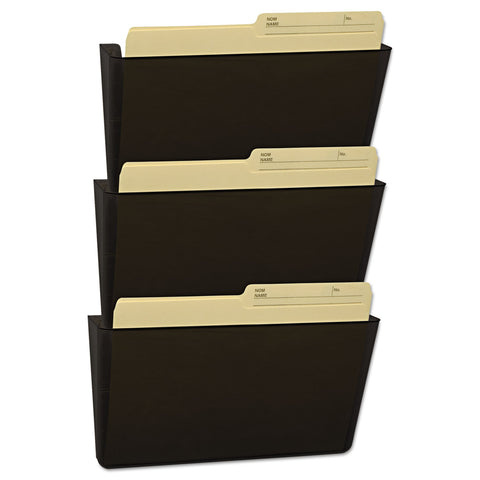 Storex Wall File, Letter, 13 x 14, Three Pocket, Smoke - Smoke / Letter