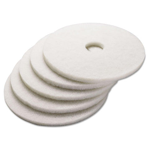 "Boardwalk Polishing Floor Pads, 17"" Diameter, White, 5/Carton"