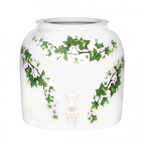 2.5 Gallon Porcelain Water Crock Dispenser With Crock Protector Ring and Faucet - Ivy