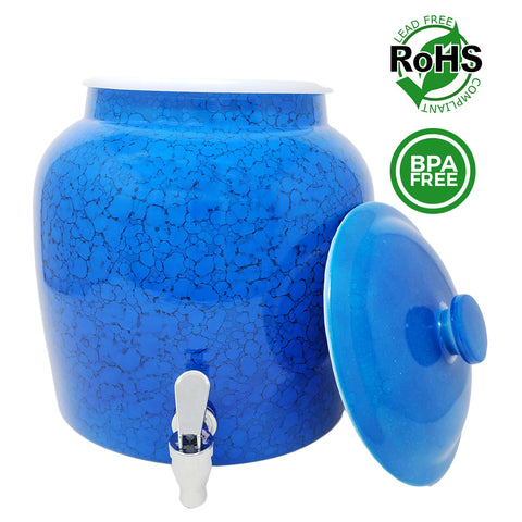 Premium Lead-Free Porcelain Beverage Dispenser With Matching Lid - 2.5 Gallons - Comes with Crock Ring Protector, No-Drip Chrome Painted BPA-Free Plastic Spigot Faucet and Lid - Small Marble Blue