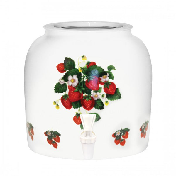 2.5 Gallon Porcelain Water Crock Dispenser With Crock Protector Ring and Faucet - Strawberries