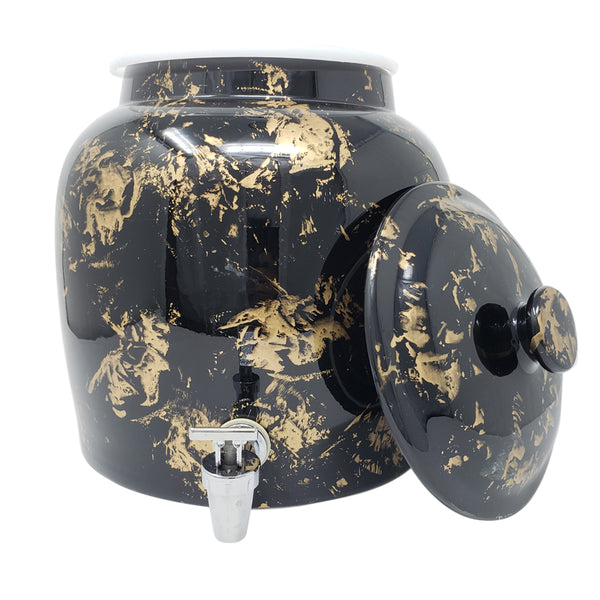 2.5 Gallon Porcelain Crock With Matching Lid - Gold Patter on Black