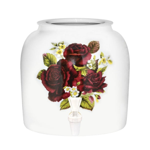 2.5 Gallon Porcelain Water Crock Dispenser With Crock Protector Ring and Faucet - Mauve Roses