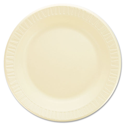 "Dart Quiet Classic Laminated Foam Dinnerware, Plate, 9"" dia, Honey, 500/Carton"