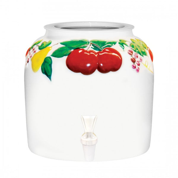 2.5 Gallon Porcelain Water Crock Dispenser With Crock Protector Ring and Faucet - Embossed Fruit