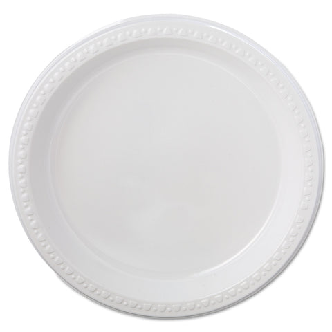 "Chinet Heavyweight Plastic Plates, 9"" Diameter, White, 125/Pack, 4 Packs/CT"