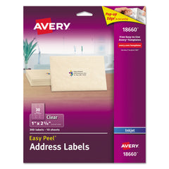 Avery Matte Clear Easy Peel Mailing Labels w/ Sure Feed Technology, Inkjet Printers, 1 x 2.63, Clear, 30/Sheet, 10 Sheets/Pack
