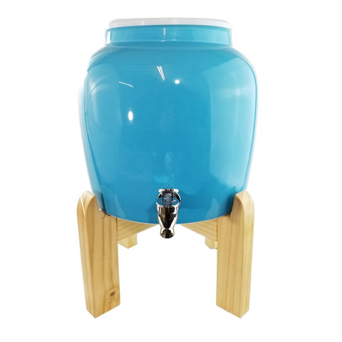 "Premium Solid Baby Blue Porcelain Water Crock Dispenser & Wood Counter Stand Set - Baby Blue / 8"" Natural Stand"