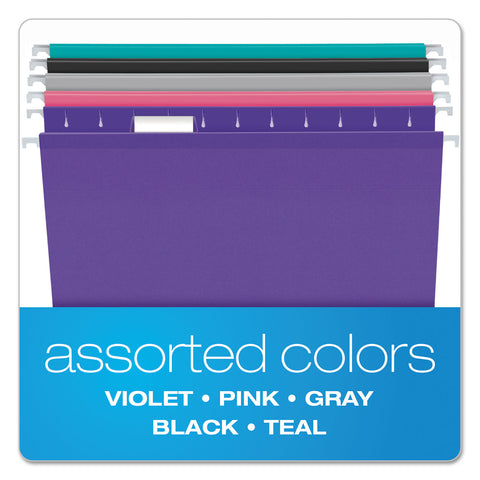Pendaflex Colored Reinforced Hanging Folders, Letter Size, 1/5-Cut Tab, Assorted, 25/Box - Assorted / Letter