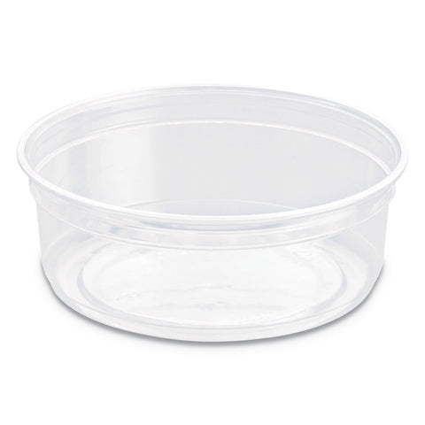 "SOLO Cup Company Bare Eco-Forward RPET Deli Containers, 8 oz, 4.6"" Diameter x 1.8""h, Clear, 500/Carton"