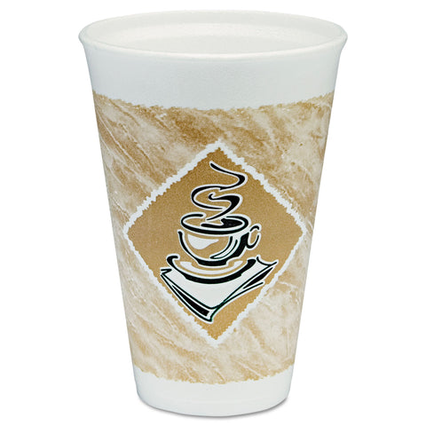 Café G Hot/Cold Cups, Foam, 16 oz, White/Brown with Green Accents, 25/Pack