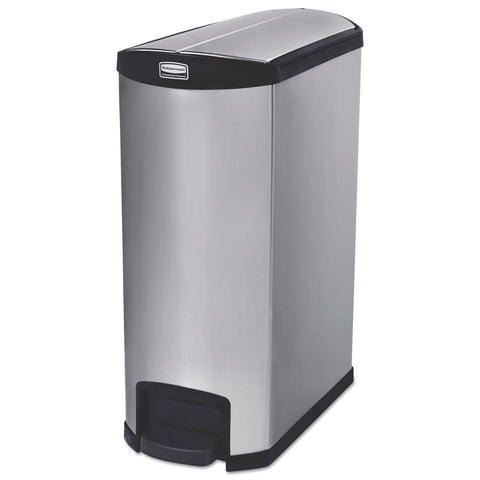 "Rubbermaid Commercial Slim Jim Stainless Steel Step-On Container, End Step Style, 24 gal, Black - Black / 13.13"" x 27.25"""