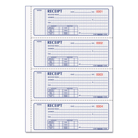 Rediform Money Receipt Book, 7 x 2 3/4, Carbonless Triplicate, 100 Sets