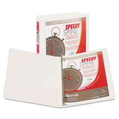 "Samsill Speedy Spine Heavy-Duty Time Saving Round Ring View Binder, 3 Rings, 0.5"" Capacity, 11 x 8.5, White"