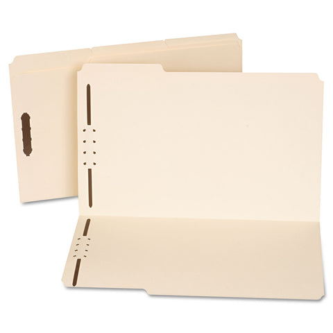 Universal Reinforced Top Tab Folders with Two Fasteners, 1/3-Cut Tabs, Legal Size, Manila, 50/Box - Manila / Legal