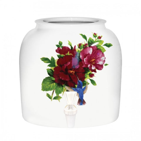 2.5 Gallon Porcelain Water Crock Dispenser With Crock Protector Ring and Faucet - Floral Humming Bird