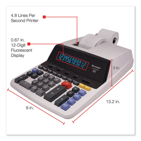 Sharp EL2630PIII Two-Color Printing Calculator, Black/Red Print, 4.8 Lines/Sec - Black; Red / 8 7/8 x 13 1/5