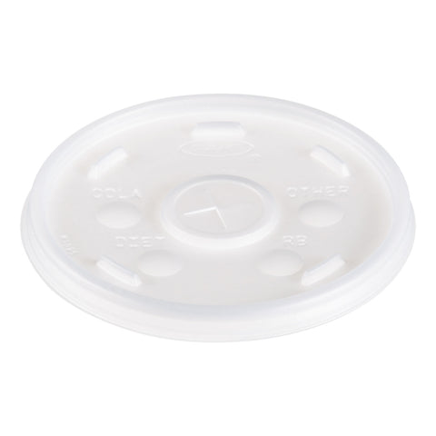 Dart Plastic Lids, for 16oz Hot/Cold Foam Cups, Straw-Slot Lid, White, 1000/Carton