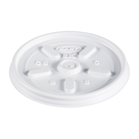 Dart Plastic Lids, for 8oz Hot/Cold Foam Cups, Vented, 1000 Lids/Carton